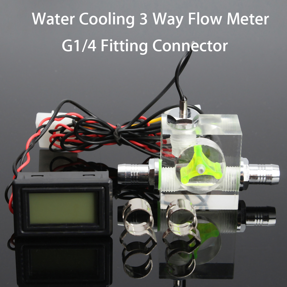 Water Liquid Cooling 4Pin 3 Way Flow Meter With Thermometer G1/4 Threaded Connector