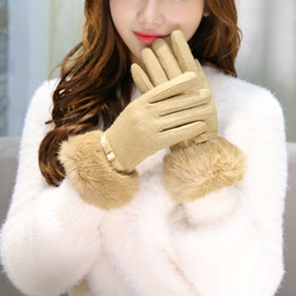 Women Winter Touch Screen Solid Texting Gloves