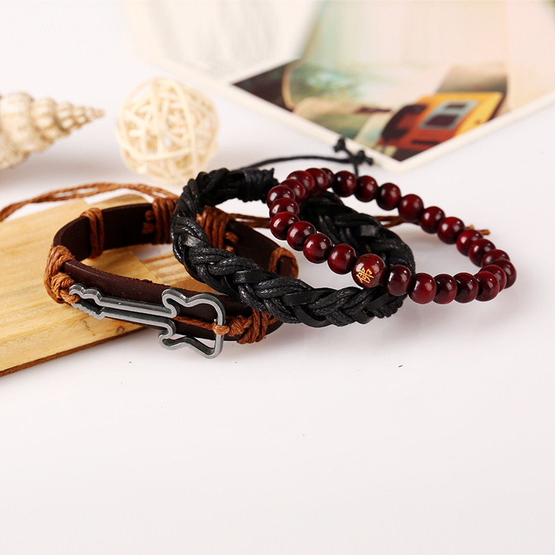 Vintage Buddha Beads Bracelet Guitar Charm Multilayer