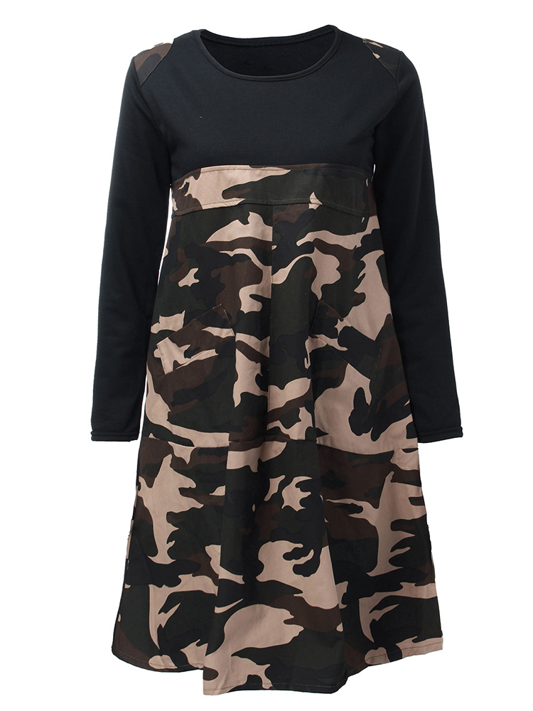 Loose Women Pocket Camouflage Printing Patchwork Tunic Dress