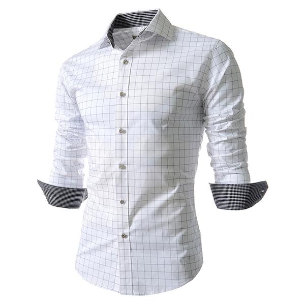 Mens Fashion Plaid Long-sleeved Lapel Checkered Shirt