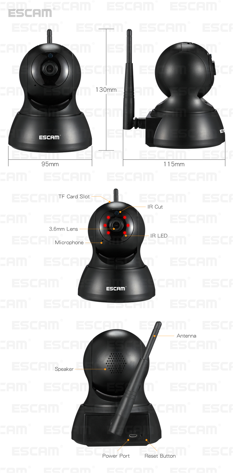 ESCAM QF007 720P 1MP WiFi IP Camera Night Vision Pan Tilt Support Motion Detection 64G TF Card