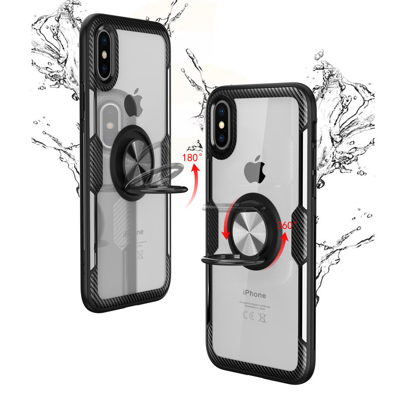 Bakeey Clear Ring Grip Kickstand Car Mount Magnetic Protective Case For iPhone X/XS/XR/XS Max