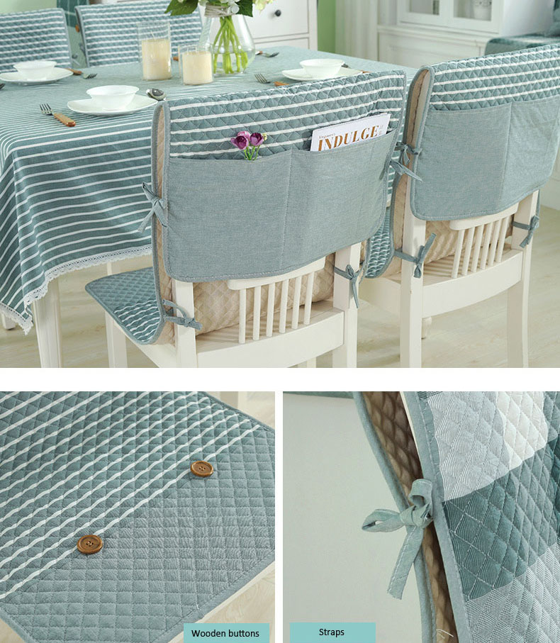 Honana 100% Cotton Washed Breathable Dining Back Chair Cover Soft Anti-skid Storage Style Fixed Cushion