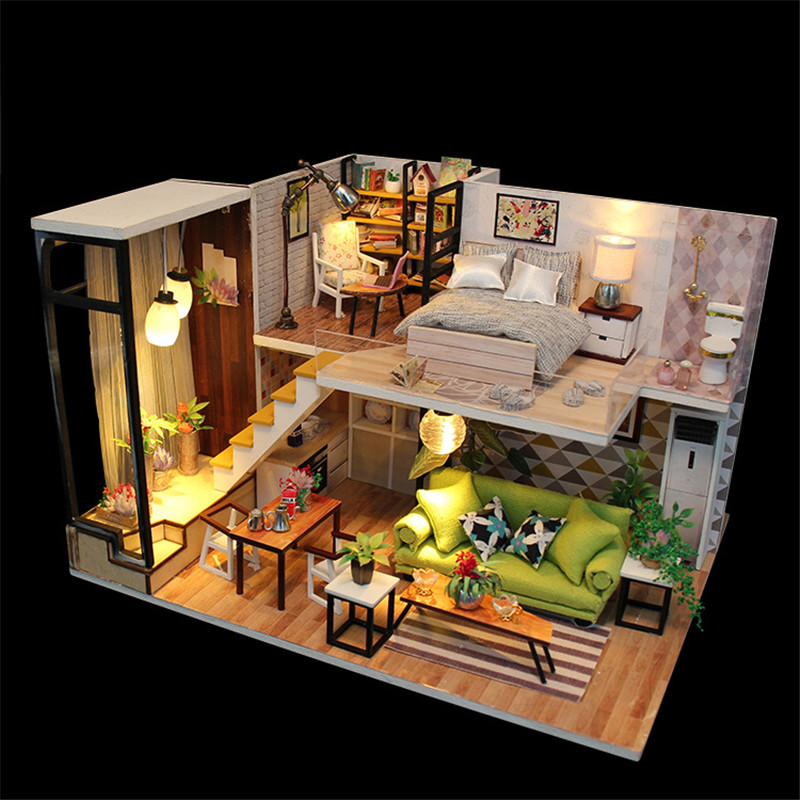 Hoomeda M030 Enjoy The Romantic Europe DIY House With Furniture Music Light Cover Miniature Decor Toy
