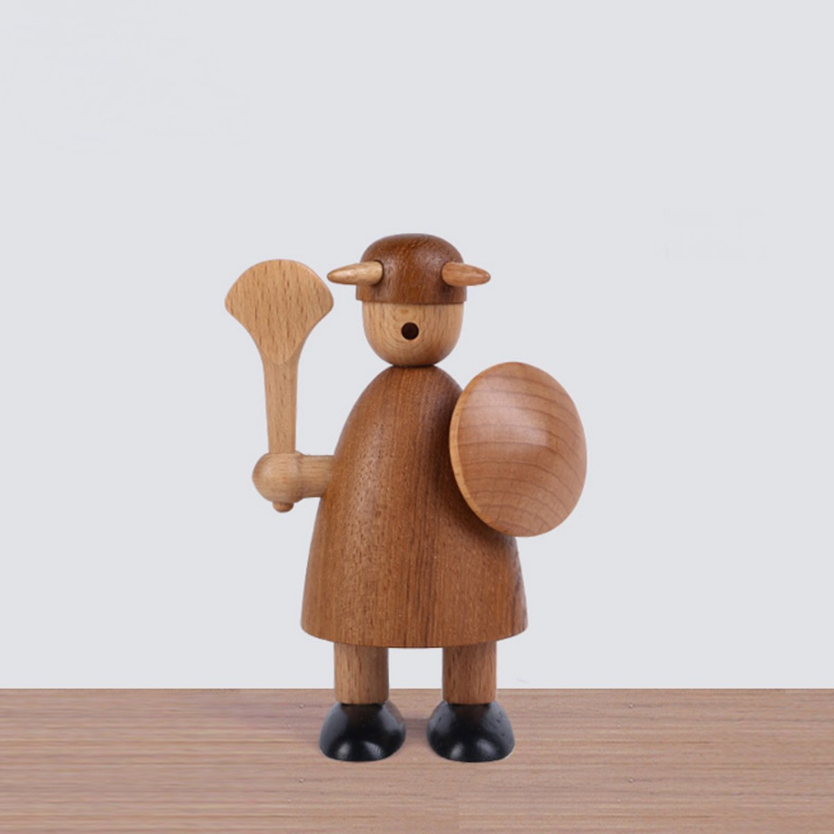 Denmark Style Viking Action Figure Sparrow Animals Wooden Doll Teak Puppet Home Desktop Decor Toy Gift
