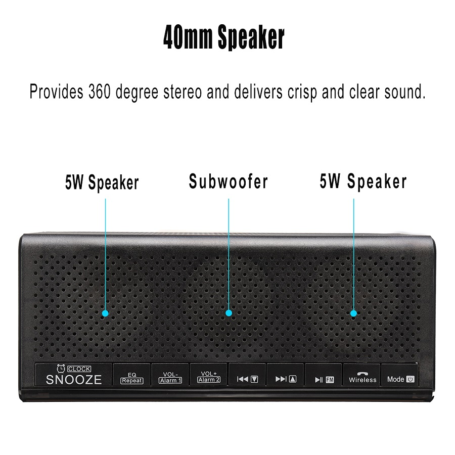 LEORY MX 20 Stereo Bluetooth Speaker With Digital Alarm Clock FM TF Card Slot For Tablet Cellphone