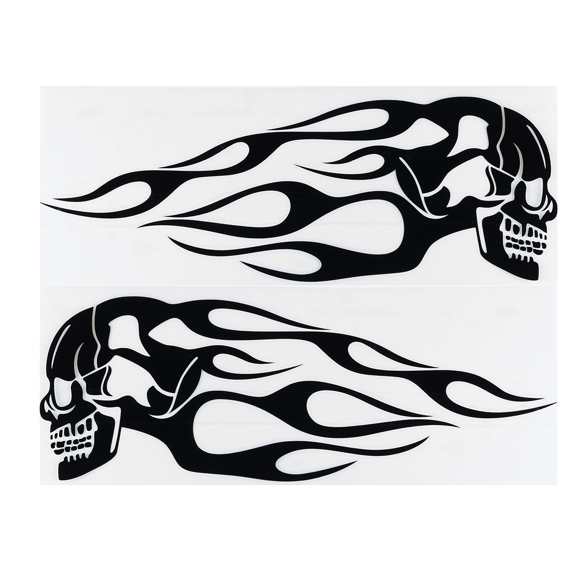 2pcs 13.5x5inch Universal Motorcycle Gas Tank Flames Skull Badge Decal Sticker