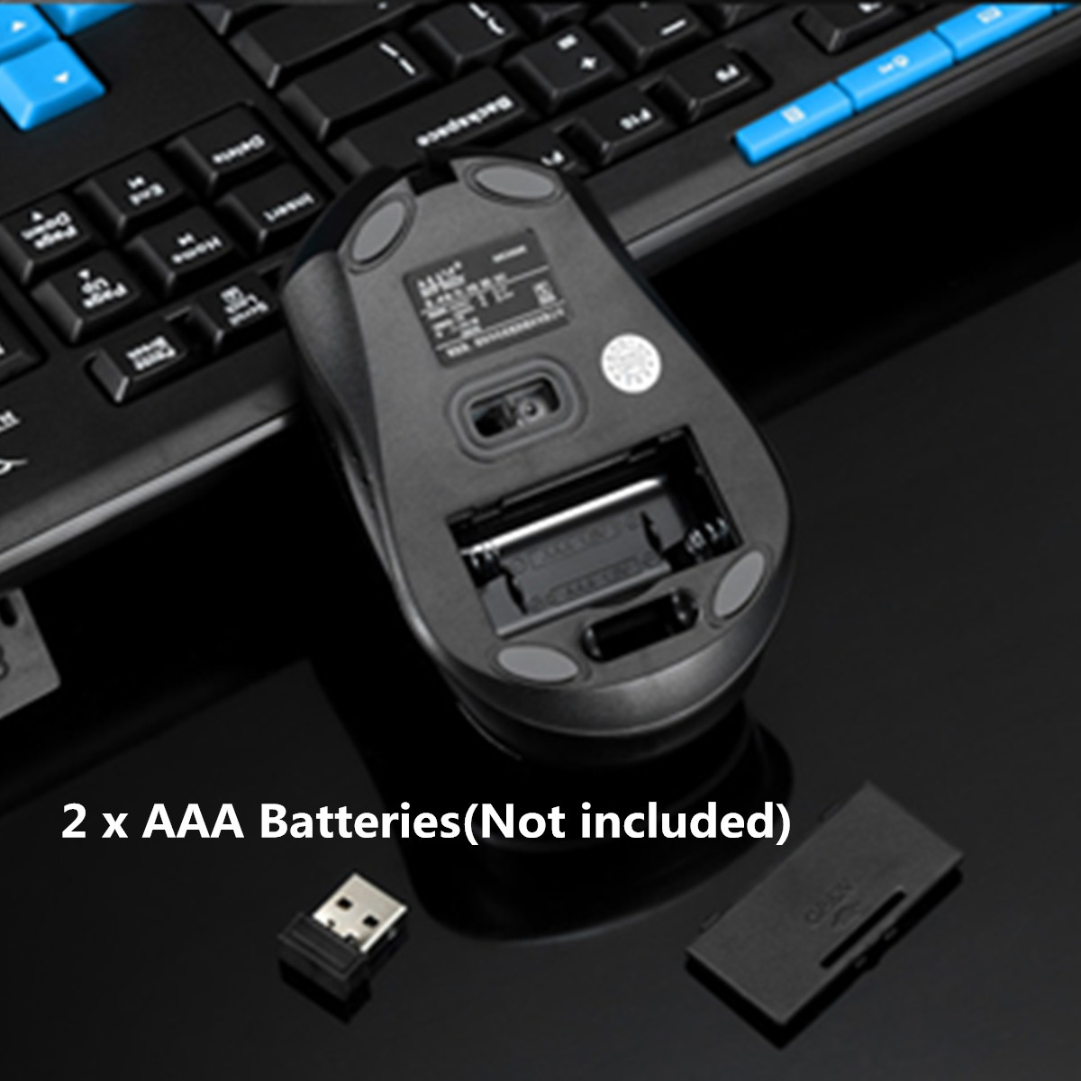 HK3800 2.4GHz Wireless Gaming Office Keyboard and 1600DPI Optics Mouse Combo Kit