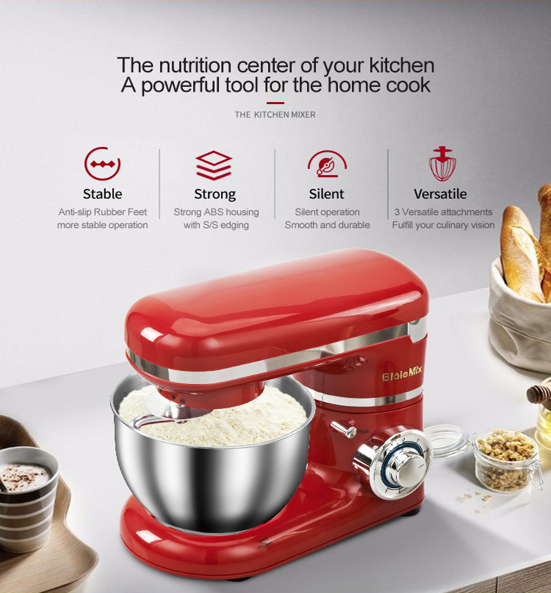 Biolomix BM6178 Kitchen Stand Mixer 4L Stainless Steel Bowl 1200W Home Professional Chef Machine