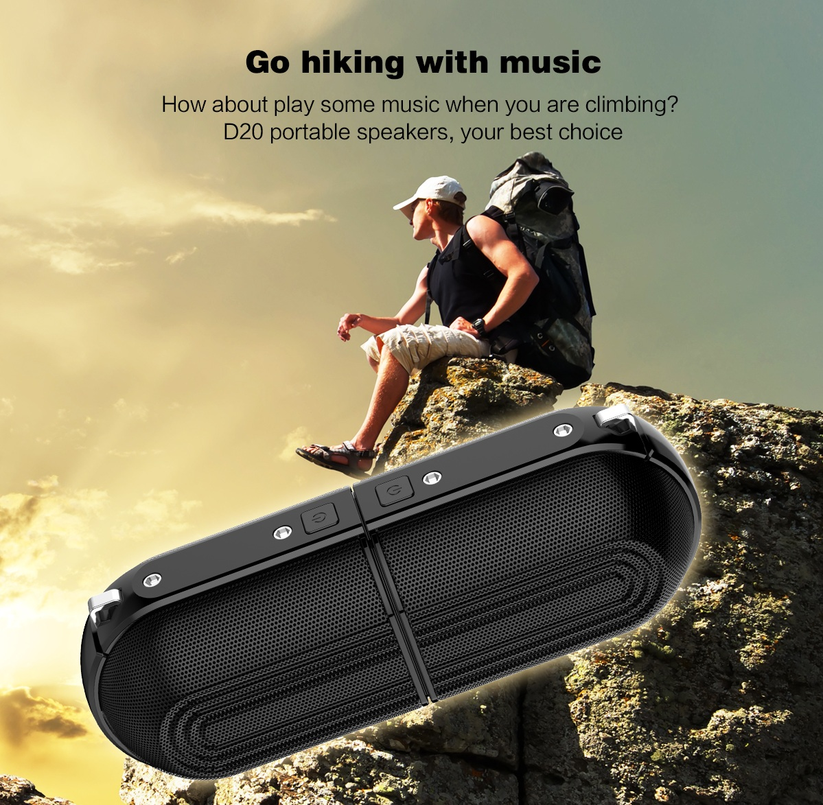 [True Wireless] Ovevo D20 TWS Magnetic bluetooth Speaker 20W Dual Speakers Stereo Portable Speaker
