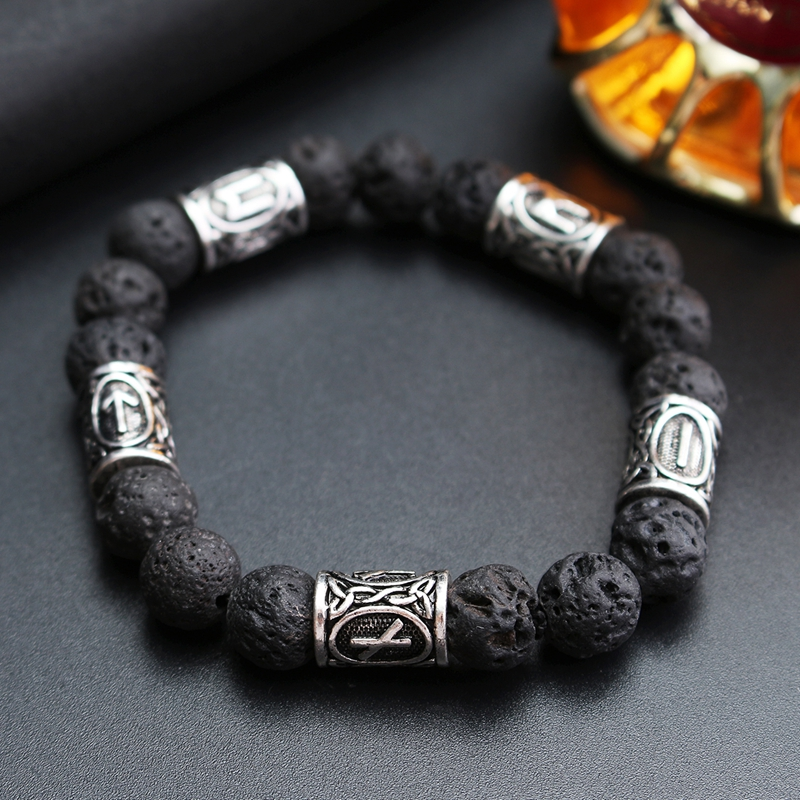 Norse Viking Rune Spacer Lava Stone Rock Beads Bracelet