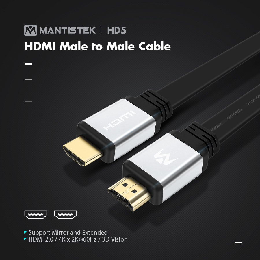 MantisTek® HD5 0.5/1/3/5M 3D HDMI Male to Male HDMI 2.0 4K*2K@60Hz Video Cable for Projector PC