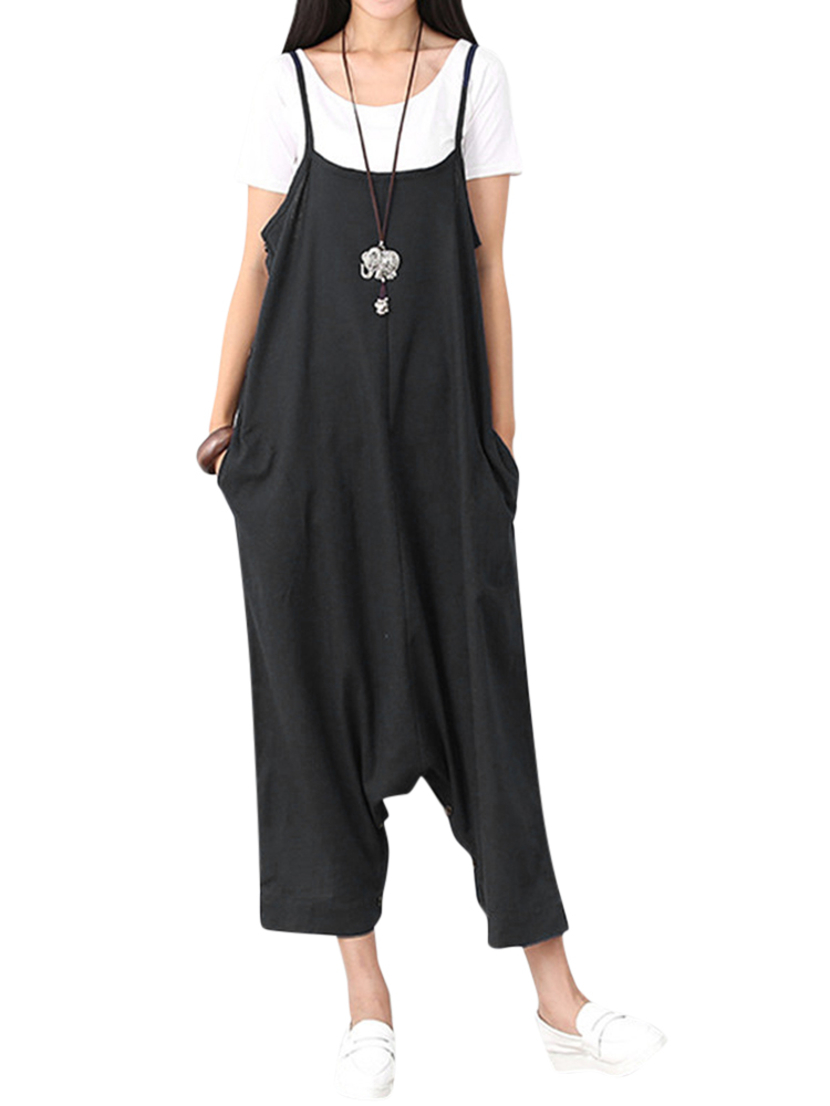 Women Sleeveless Spaghetti Strap Cotton Casual Jumpsuits