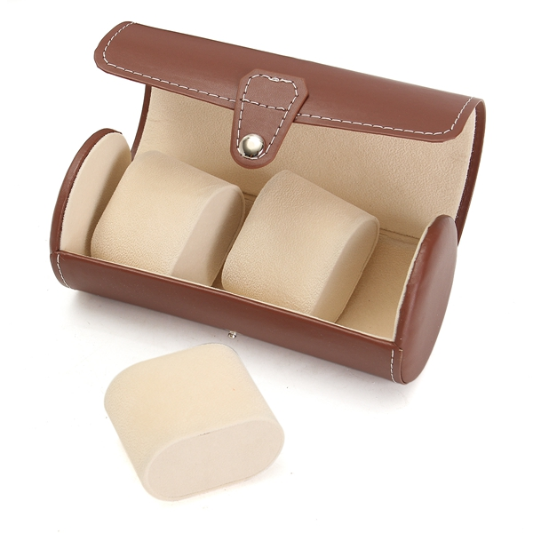 Fashion Watch Boxes Brown Leather Three Watches Storage Boxes