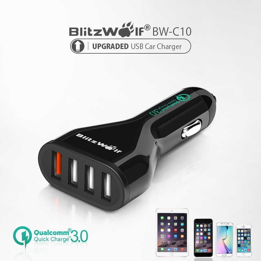 [Qualcomm Certified] BlitzWolf® BW-C10 QC3.0 54W USB Car Charger with Power3S and Quick Charge 3.0