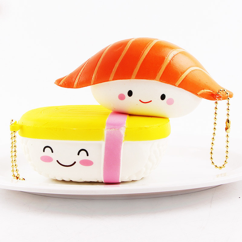 SanQi Elan Squishy Salmon Sushi 12cm Licensed Slow Rising With Packaging Collection Gift Decor Soft Toy