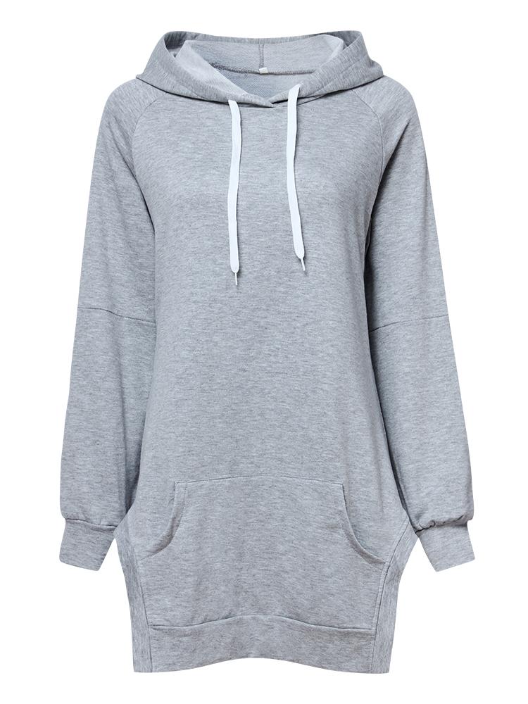 Casual Solid Hooded Long Sleeve Side Split Loose Women Sweatshirt