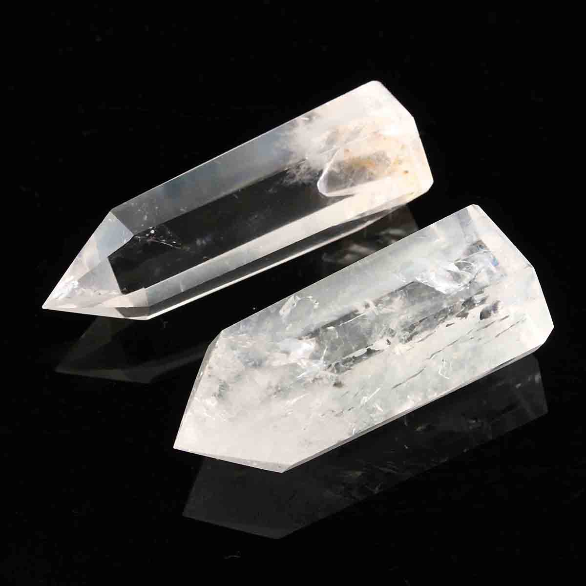 2pcs Transparent Clear Healing Seed Rock Quartz Crystal Wand Decoration