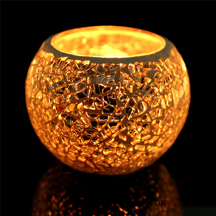 Mosaic Glass Candleholders Candle Stick Colorful Romantic Wedding Home Table Decorative