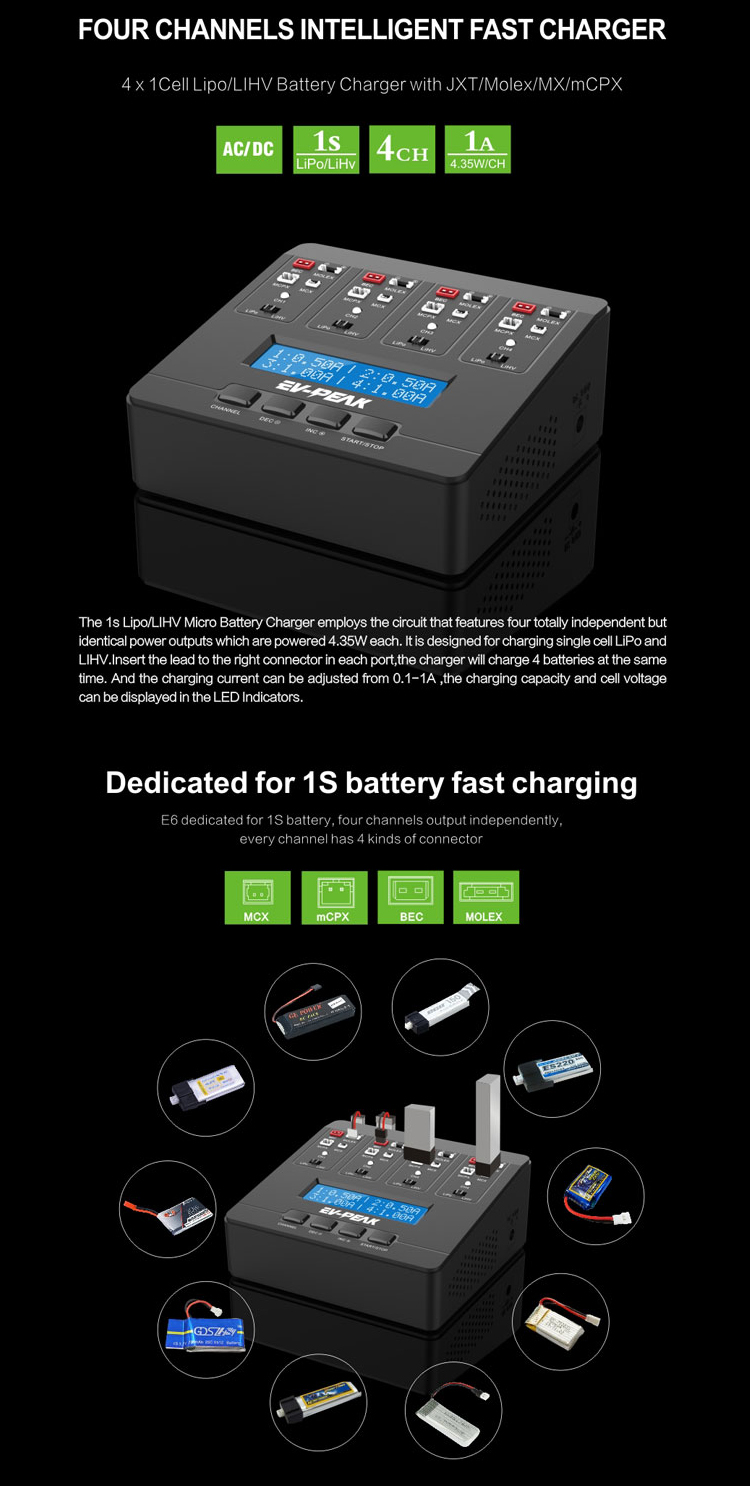 EV-PEAK E6 17.4W AC/DC Smart Battery Charger for JST MCPX MCX MOLEX PlugTiny Whoop Blade Inductrix