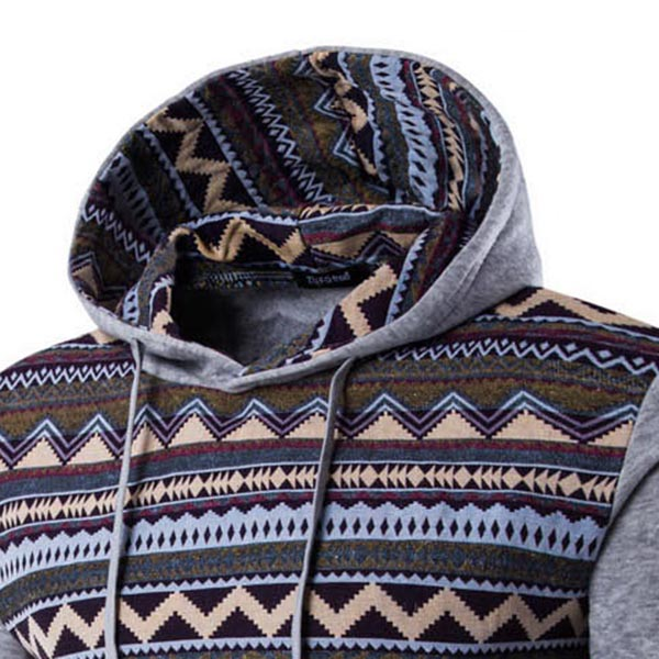 Mens Winter Fleece Casual Hoodies Spell Color Pullover Sweatshirts Hoodies