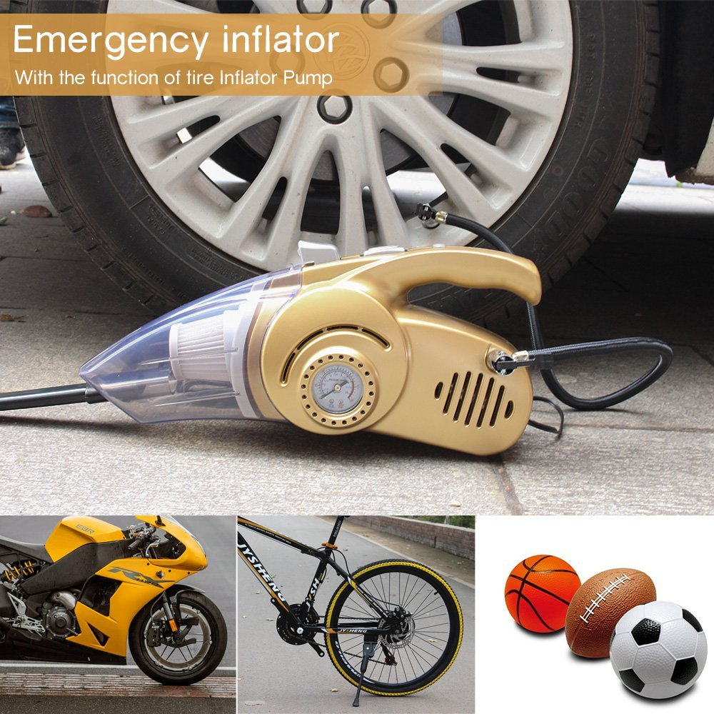 12V Wet Dry Handheld Multi-Use Vacuum Car Dust Cleaner Auto Inflator Pump