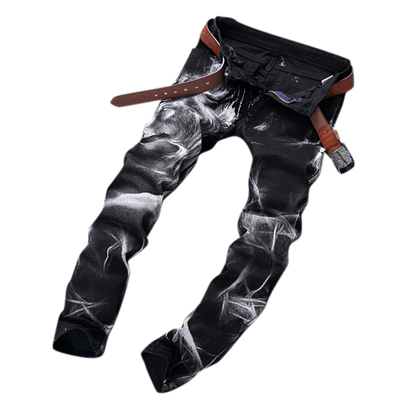 Mens Fashion Wolf Printing Black Straight Leg Denim Long Pants Jeans US Size 30-40