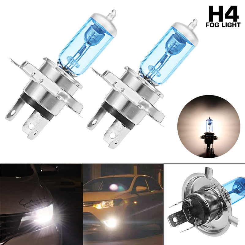 2Pcs Car Halogen Headlights HOD Fog Bulbs Lamps H1 H4 H7 H11 12V 100W 7200LM 6000K