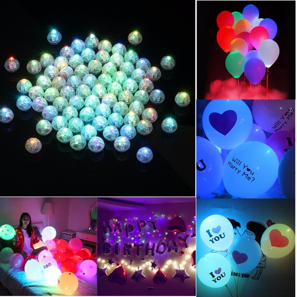 50/100pcs Mini LED Light Bulb For Paper Lantern Balloon Wedding Xmas Party Decor