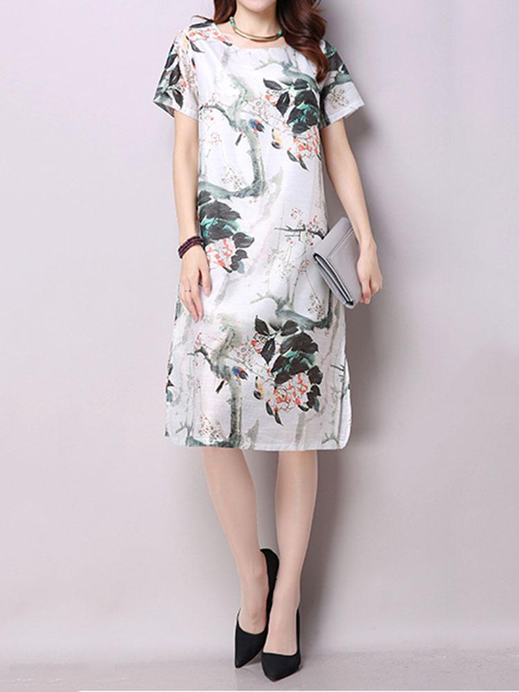 Retro Ethnic Style Women Flower Ink Printing Split Cotton Linen Dress