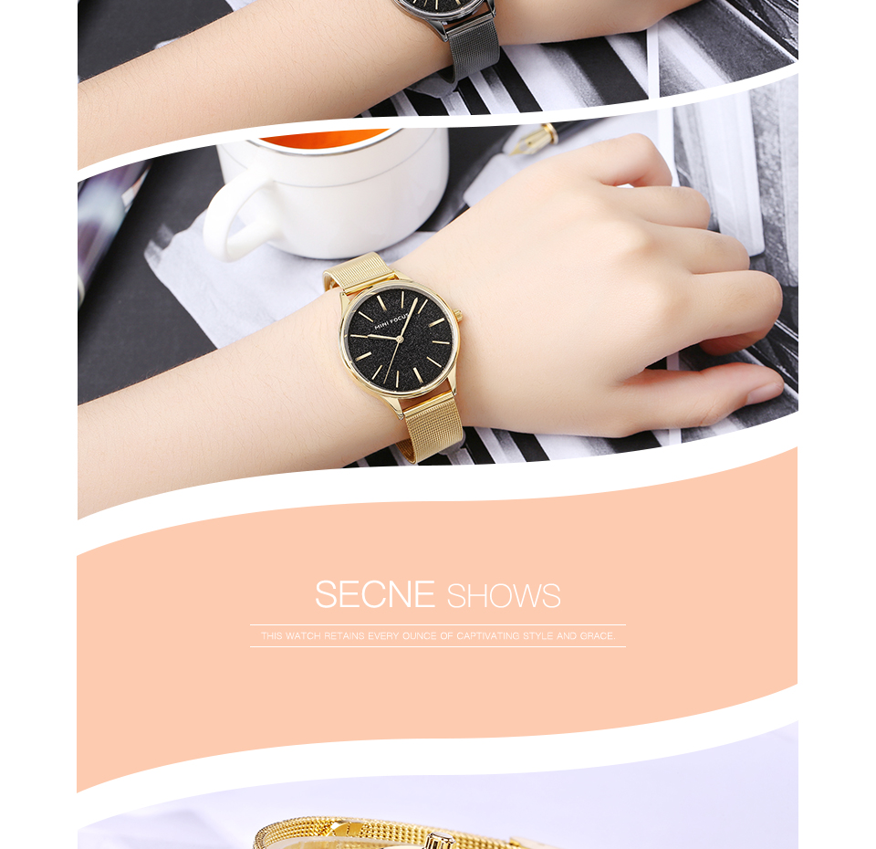 MINI FOCUS Shining Dial Display Mesh Steel Women Watch