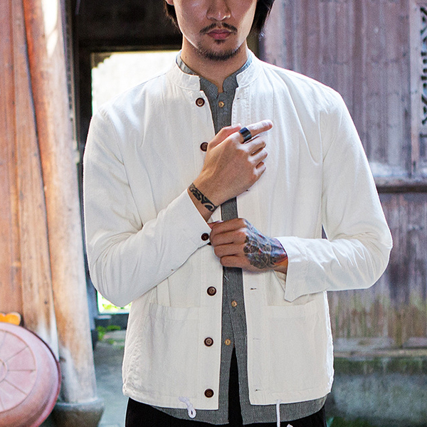 Vintage Chinese Style Cotton Linen Long Sleeve Slim Fit Stand Collar Jackets for Men