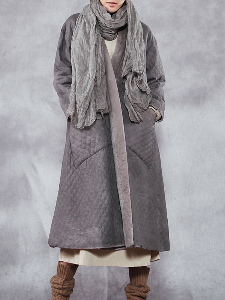 Casual Loose Plaid Solid Pockets Stand Collar Coat