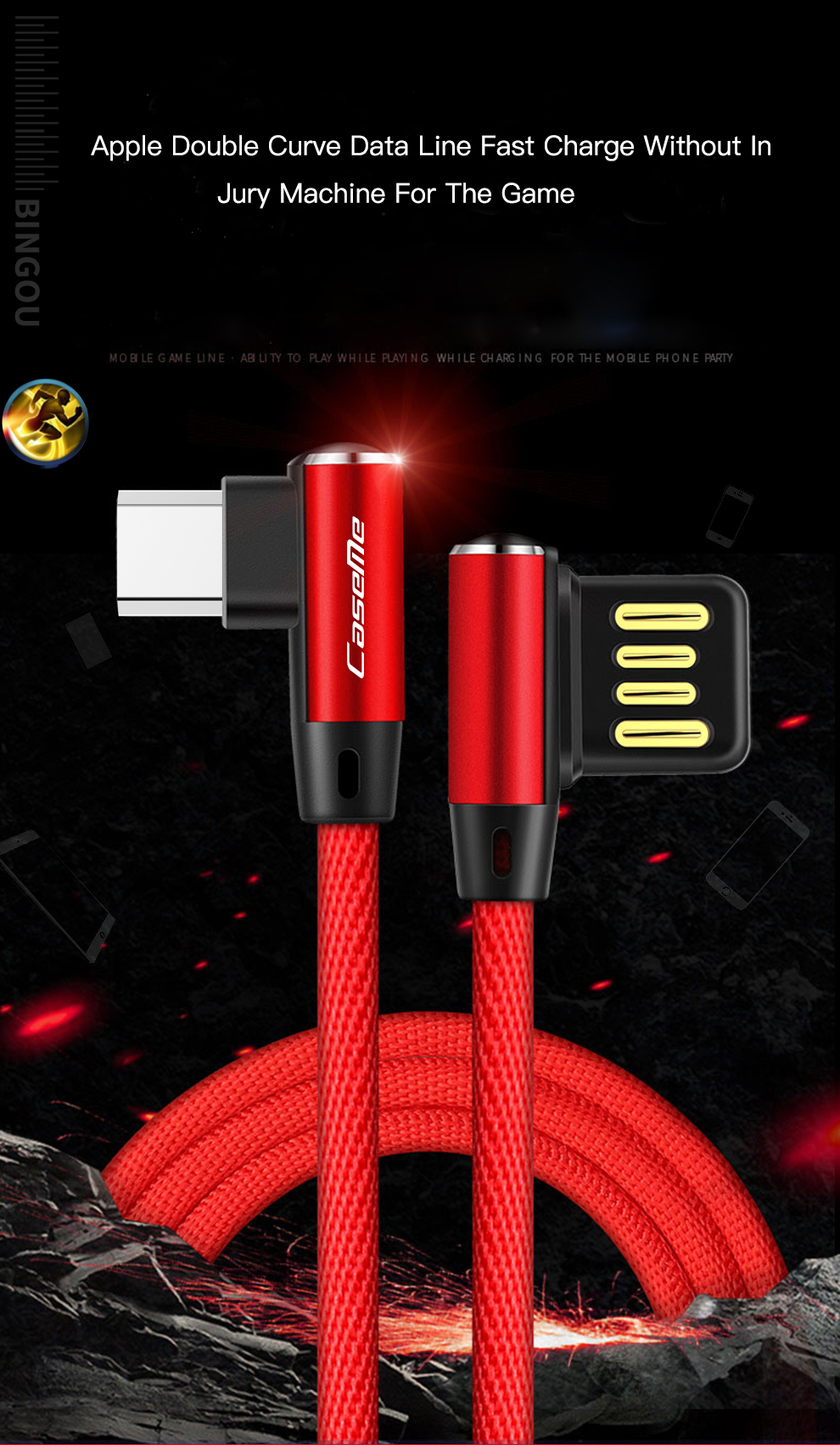 Bakeey 90 Degree Reversible 2.4A Type C Charging Data Cable 3.28ft/1m for Xiaomi Mi A2 Pocophone F1