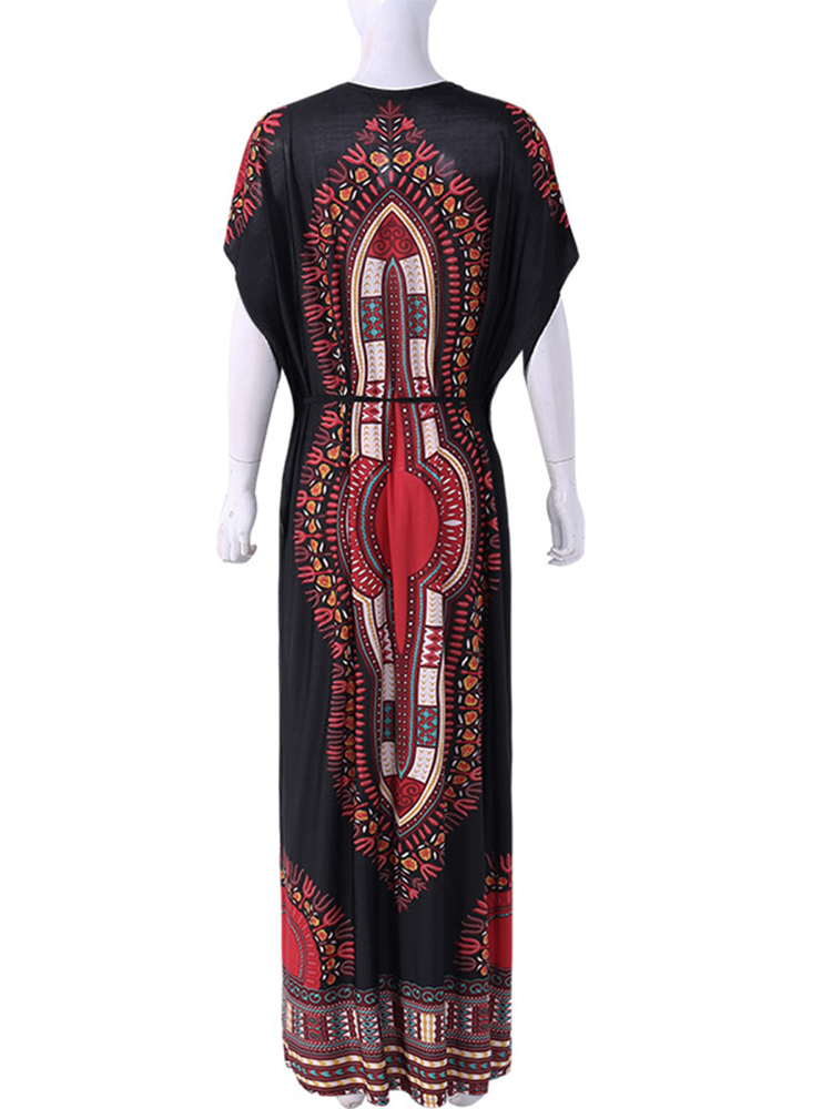 Plus Size Bohemian Flared Sleeve Strap Long Dress