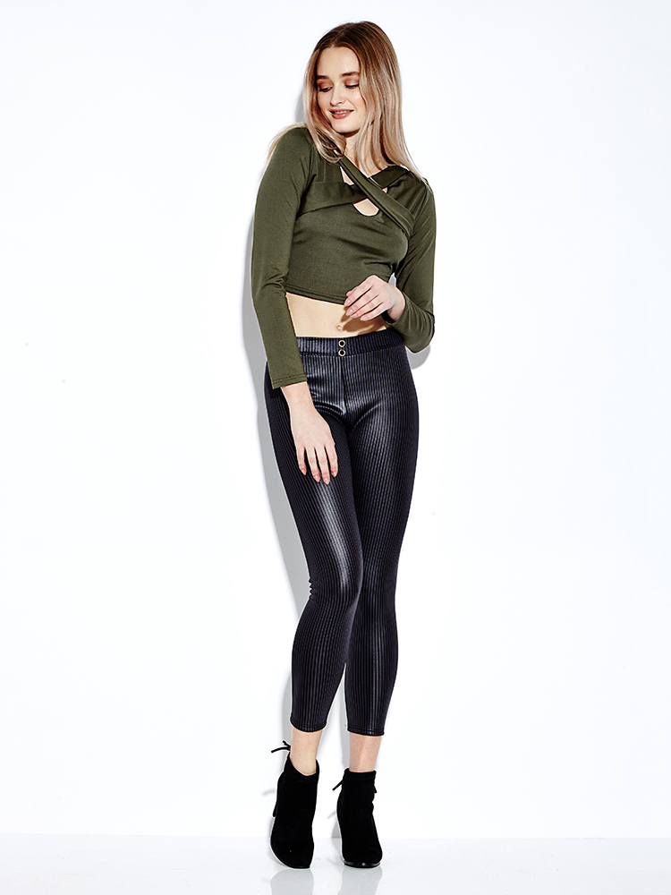 Sexy Women Cross Bandage V-Neck Solid Color Long Sleeve Crop Tops