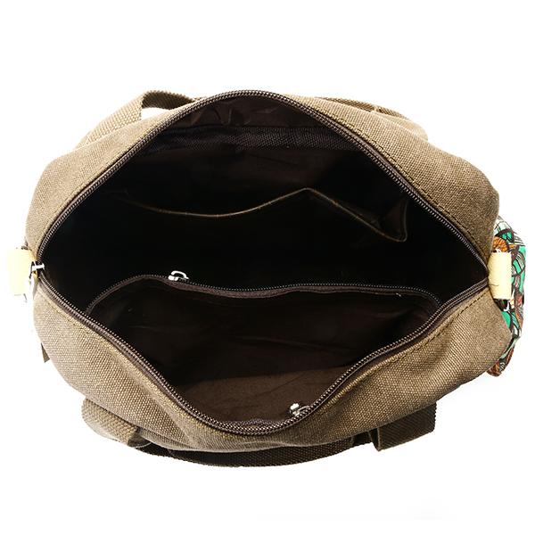 Women Quality Canvas Vintage Floral Hand Drawing Multi Pocket Large Capacity Handbag Shoulder Bag