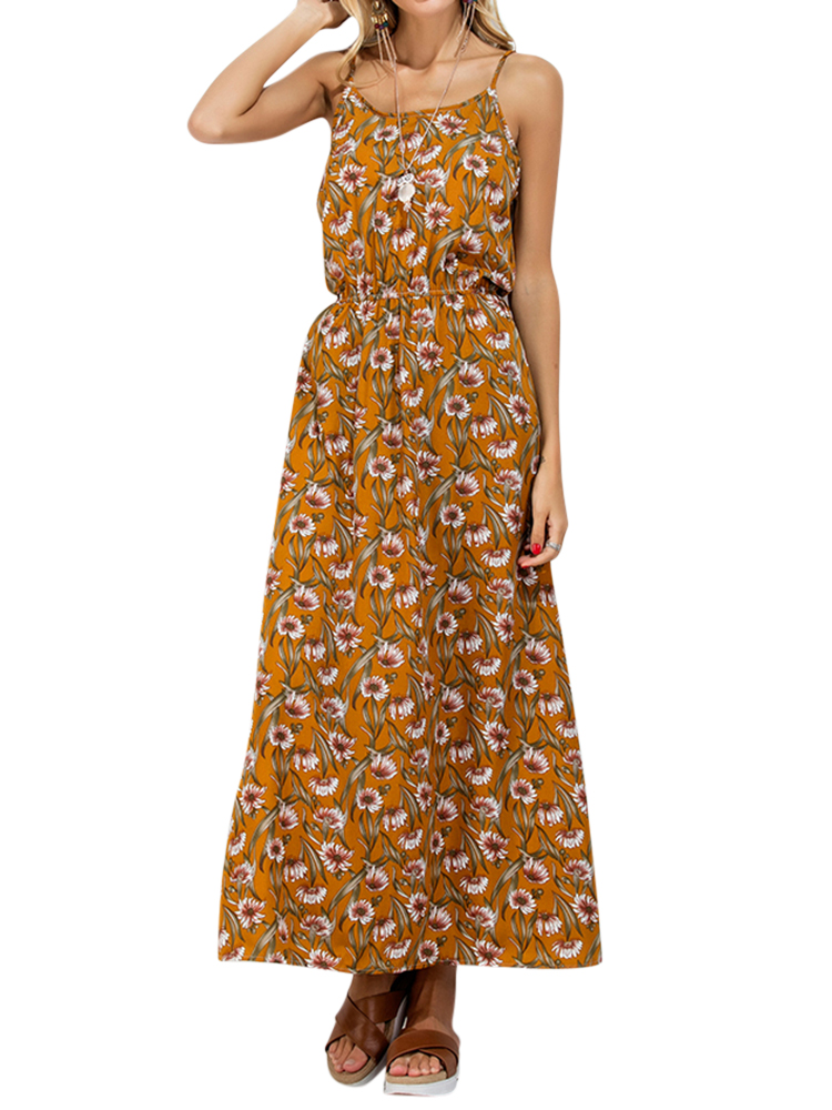 Boho Women Floral Print Backless Cami O-neck Maxi Dresses
