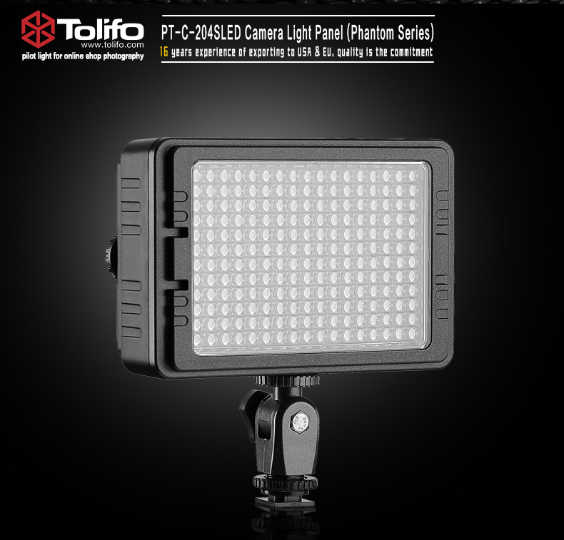 TOLIFO PT-204S Portable Dimmable Daylight LED Camera Video Light for DSLR Camera