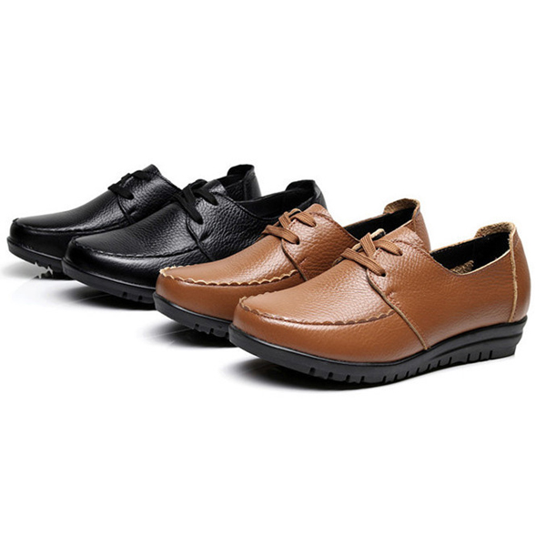 Large Size Pure Color Soft Leather Lace Up Round Toe Flat Loafer Shoes