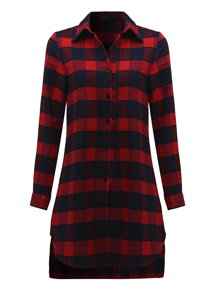 Casual Lady Plaid Print Asymmetrical Long Sleeve Shirt