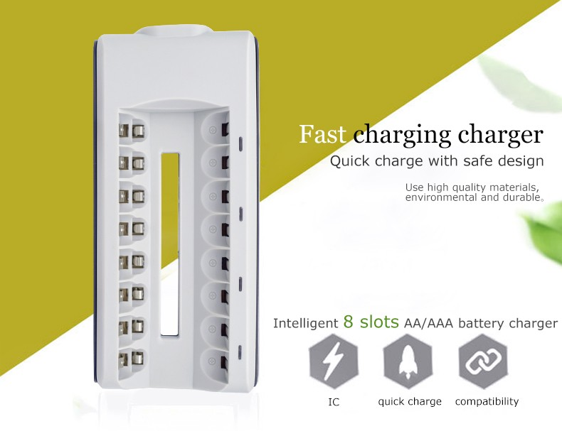 Palo P10 8 Slots NIMH NICD Battery Charger with LED Indicator for AA AAA BAattery