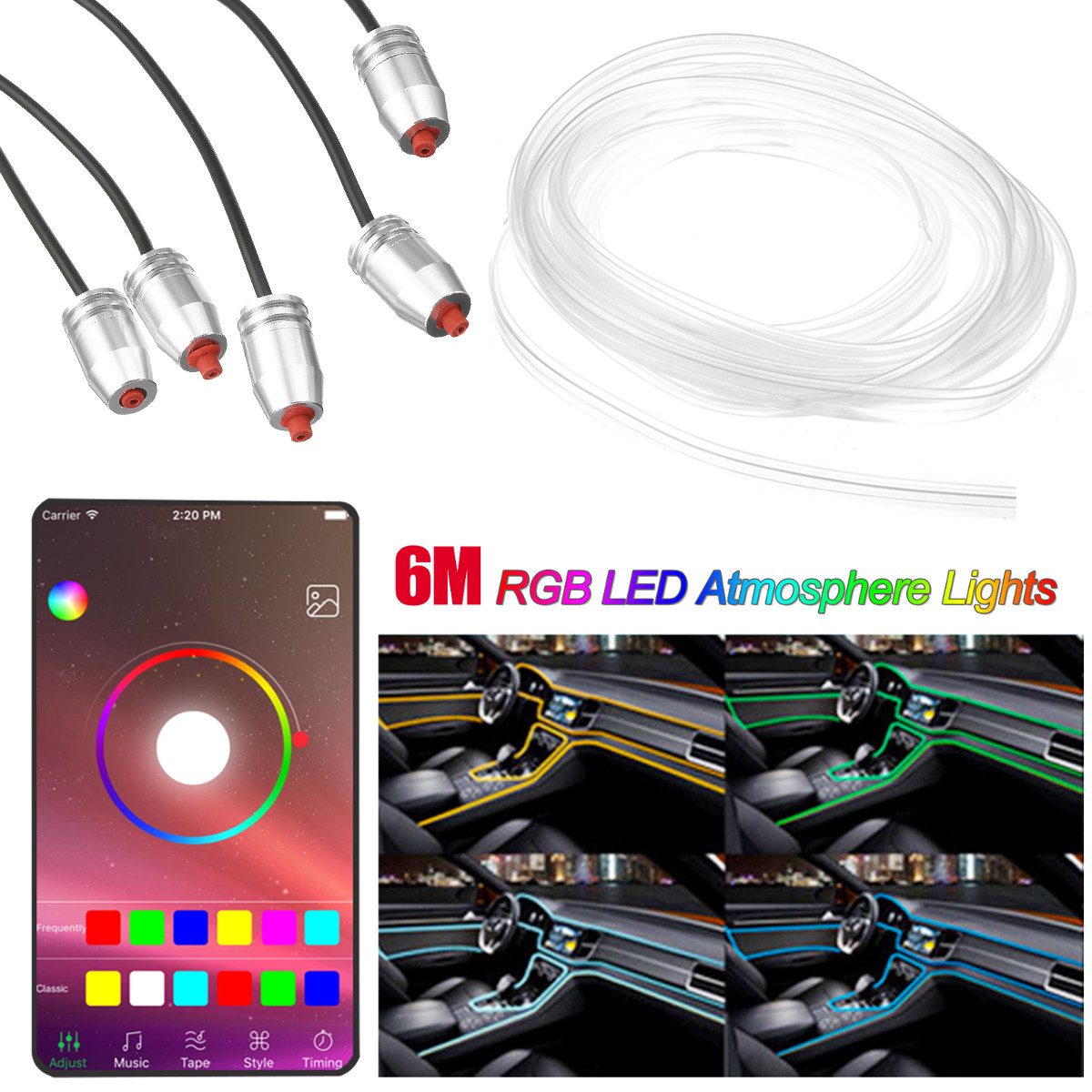 6m 5 in 1 LED Car Interior Decoration Lights Floor Atmosphere Light Strip Phone App Control Colorful