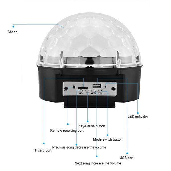 12W bluetooth Voice Control LED Magic Ball Stage Lamp Colorful MP3 Disco with Remote Controller