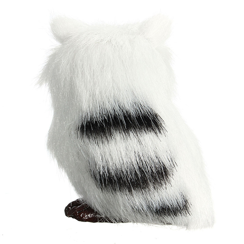 Owl White Black Furry Christmas Ornament Decoration Adornment Simulation H2.75