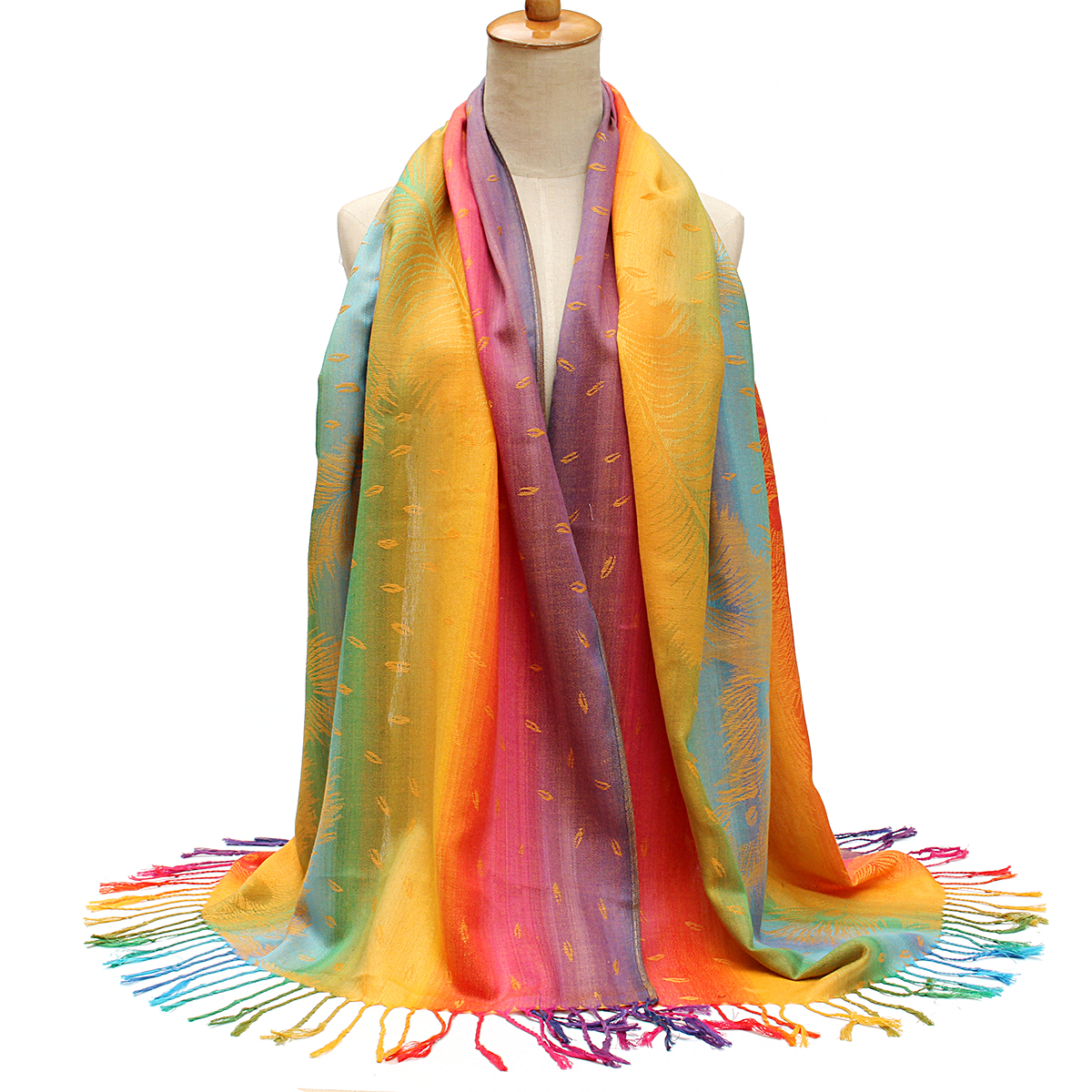 Women Ladies Cotton Mixed Color Feather Printed Tassel Scarves Colorful Stole Shawl Wrap Scarf