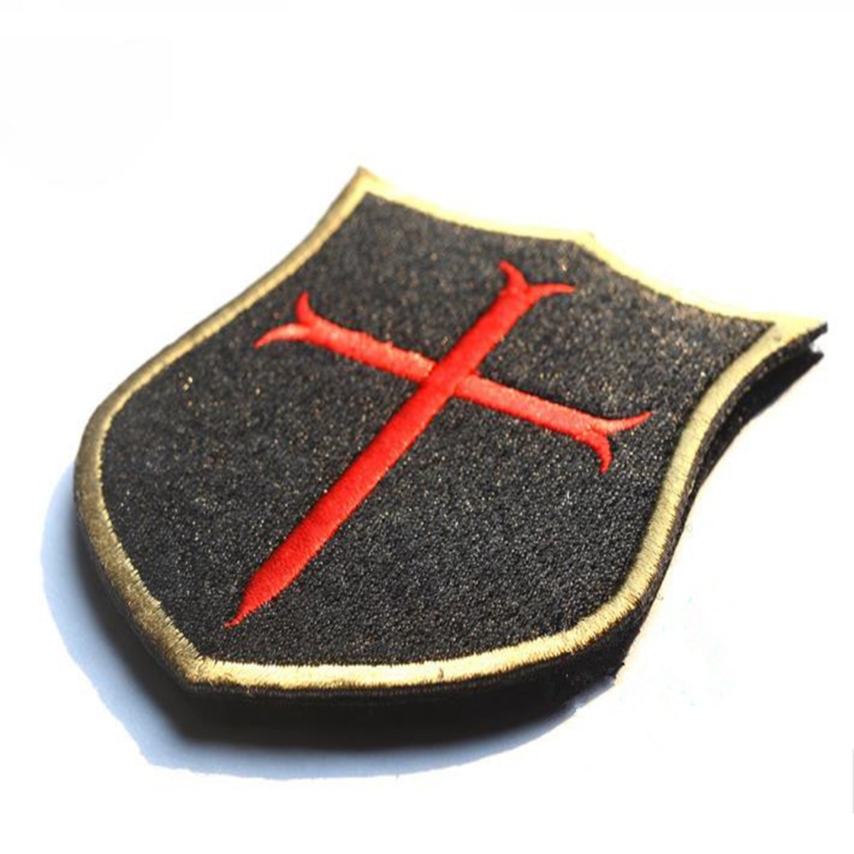 3D PVC Motorcycle Embroidery Cross Crusader Tactical Badge Shield Morale Patch Seal