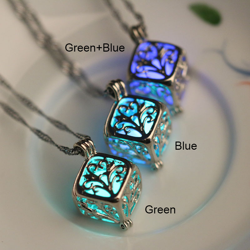 Fashion Luminous Stone Necklace Wishing Hollow Tree Locket