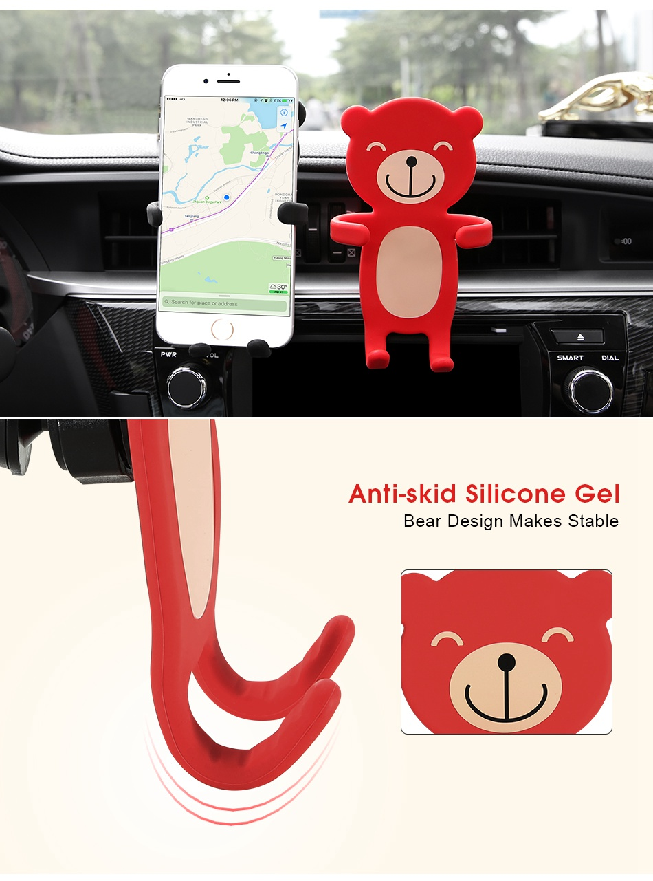 Carton Bear Silicone Flexible Car Air Vent Holder Phone Mount for iPhone X Samsung S8 Xiaomi 6 GPS